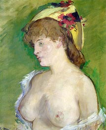 The Blonde with Bare Breasts, 1878 by Manet | Painting Reproduction