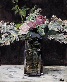 Vase of White Lilacs and Roses, 1883 von Manet | Gemälde-Reproduktion