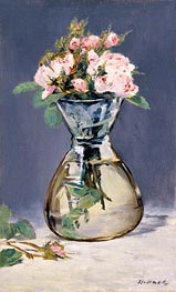 Moss Roses in a Vase, 1882 by Manet | Painting Reproduction