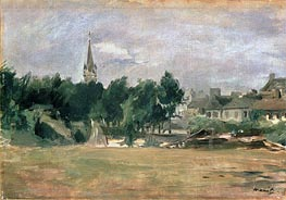Landscape with a Village Church, undated by Manet | Painting Reproduction