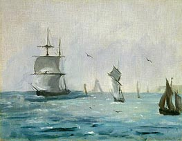 Fishing Boat Arriving with the Wind Behind, 1864 by Manet | Painting Reproduction