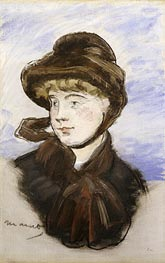 Young Girl in a Brown Hat, 1882 by Manet | Painting Reproduction