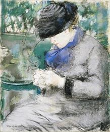 Girl Sitting in the Garden (Knitting), 1879 by Manet | Painting Reproduction