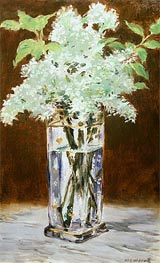 White Lilac in a Crystal Vase, 1882 by Manet | Painting Reproduction