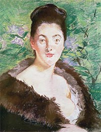 Woman in a Fur Coat, undated by Manet | Painting Reproduction