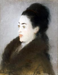 Woman in a Fur Coat in Profile, 1879 by Manet | Painting Reproduction