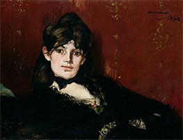 Portrait of Berthe Morisot Reclining, 1873 by Manet | Painting Reproduction