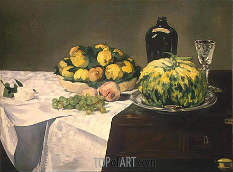 Still Life with Melon and Peaches, c.1866 | Manet | Gemälde Reproduktion