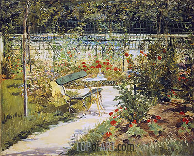 The Bench, The Garden at Versailles, 1881 | Manet | Gemälde Reproduktion