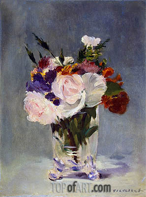 Flowers in a Crystal Vase, c.1882 | Manet | Painting Reproduction