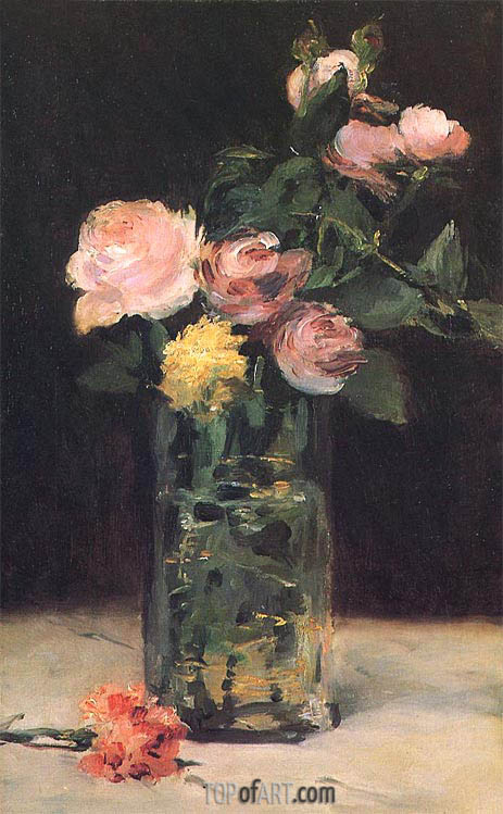 Roses in a Glass Vase, 1883 | Manet | Painting Reproduction