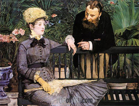 In the Conservatory, 1879 | Manet | Painting Reproduction
