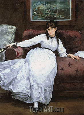 Repose: Portrait of Berthe Morisot, 1870 | Manet | Painting Reproduction
