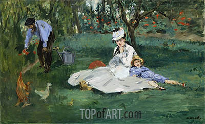 The Monet Family in Their Garden at Argenteuil, 1874 | Manet | Gemälde Reproduktion