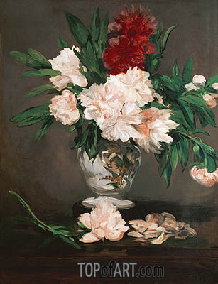Peonies in a Vase on a Stand, 1864 | Manet | Gemälde Reproduktion