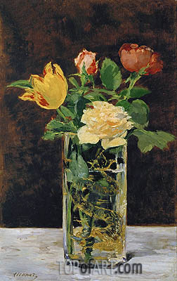 Roses and Tulips in a Vase, 1883 | Manet | Painting Reproduction