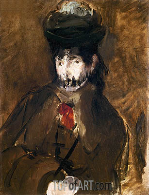 Portrait of Berthe Morisot with Veil, 1872 | Manet | Painting Reproduction