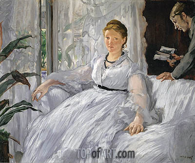 Madame Manet (Reading), 1868 | Manet | Gemälde Reproduktion