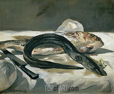 Eel and Red Mullet, 1864 | Manet | Gemälde Reproduktion