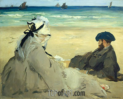 At the Beach, 1873 | Manet | Gemälde Reproduktion
