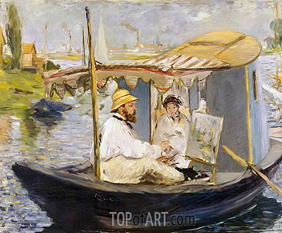 The Boat (Claude Monet, with Madame Monet, Working on His Boat in Argenteuil), 1874 | Manet | Painting Reproduction
