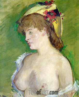 The Blonde with Bare Breasts, 1878 | Manet | Painting Reproduction
