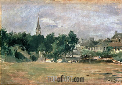 Landscape with a Village Church, undated | Manet | Gemälde Reproduktion