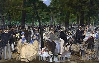 Music in the Tuileries Gardens, 1862 | Manet | Gemälde Reproduktion