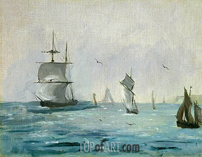 Fishing Boat Arriving with the Wind Behind, 1864 | Manet | Gemälde Reproduktion