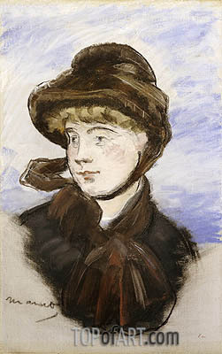 Young Girl in a Brown Hat, 1882 | Manet | Gemälde Reproduktion