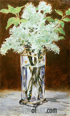 White Lilac in a Crystal Vase, 1882 | Manet | Gemälde Reproduktion