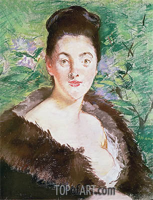 Woman in a Fur Coat, undated | Manet | Gemälde Reproduktion