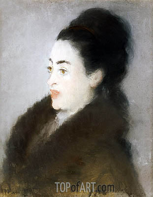 Woman in a Fur Coat in Profile, 1879 | Manet | Gemälde Reproduktion