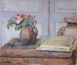 The Artist's Paint Box and Moss Roses | Vuillard | Gemälde Reproduktion