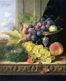 Still Life of Fruit, a Tazza and a Bird's Nest | Edward Ladell | Painting Reproduction
