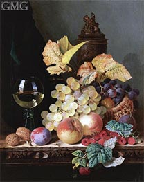 Still Life with Peaches, Plums, Grapes and Walnuts, undated von Edward Ladell | Gemälde-Reproduktion