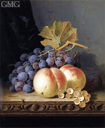 Still Life with Peaches, Grapes and Whitecurrants | Edward Ladell | Painting Reproduction