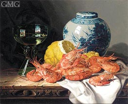 Still Life with Prawns, a Lemon, Wine Glass and Delft Pot | Edward Ladell | Painting Reproduction