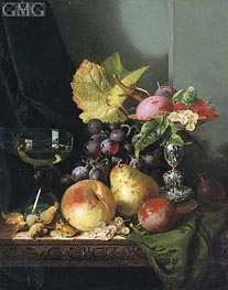 Plums, Raspberries and White Currants in a Tazza | Edward Ladell | Painting Reproduction