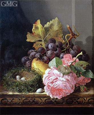Still Life, Roses, Fruit and Bird's Nest, undated | Edward Ladell | Painting Reproduction