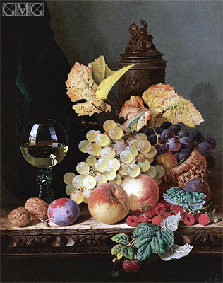 Still Life with Peaches, Plums, Grapes and Walnuts, undated | Edward Ladell | Painting Reproduction