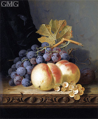 Still Life with Peaches, Grapes and Whitecurrants, undated | Edward Ladell | Gemälde Reproduktion