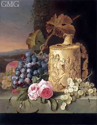 Still Life with Grapes, Roses wnd w Stein on a Marble Ledge, undated | Edward Ladell | Painting Reproduction