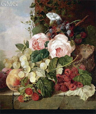 Still Life with Roses, Grapes, Peaches and Raspberries, 1858 | Edward Ladell | Painting Reproduction