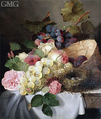 Still Life with Peaches, Grapes, Roses and a Bird's Nest, 1858 | Edward Ladell | Gemälde Reproduktion