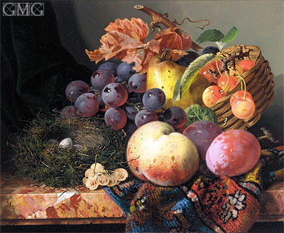Still Life with Peaches, Plums, Cherries, Grapes a Pear and a Bird's Nest, undated | Edward Ladell | Gemälde Reproduktion