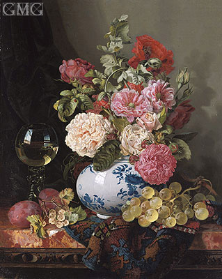 Mixed Flowers in a Chinese Vase with Grapes and a Wine Roemer, undated | Edward Ladell | Painting Reproduction