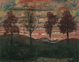 Four Trees, 1917 by Schiele | Painting Reproduction