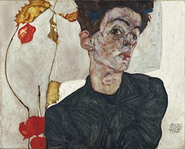 Self-Portrait with Physalis, 1912 by Schiele | Painting Reproduction
