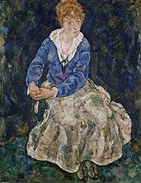 Portrait of the Artist's Wife, Edith Schiele, 1918 by Schiele | Painting Reproduction